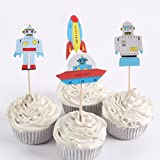 iMagitek 48 Pack Space Robot Rocket Cupcake Toppers Puffy Picks Party Cake Decoration for Baby 1st Birthday, Baby Shower, Kids Birthday