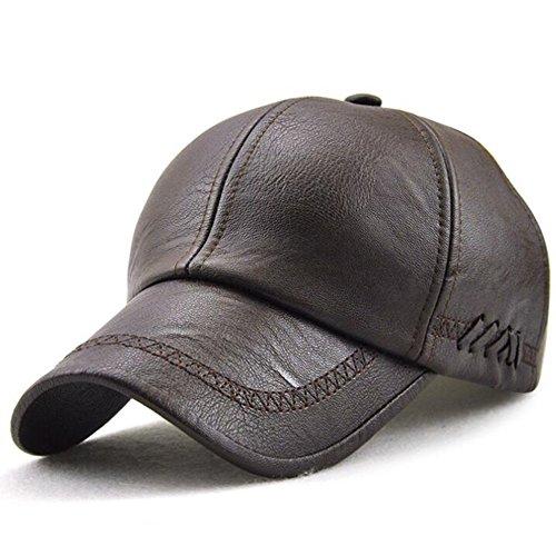 GESDY Men's Vintage Adjustable PU Leather Baseball Cap Outdoor Sports Driving Sun Hat, Dark Coffee1, 56-63cm
