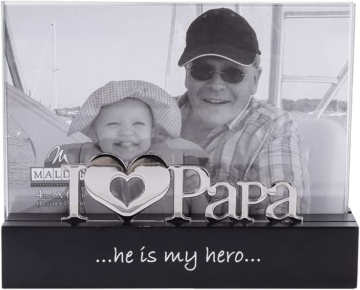 Malden International Designs I Love Papa Desktop Expressions with Silver Word Attachment Picture Frame, 4x6, Black