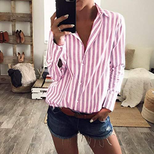 A Ansenesna Eleganti Bluse Rosa Donna con Camicia Righe da Donna Stampa q8PwF