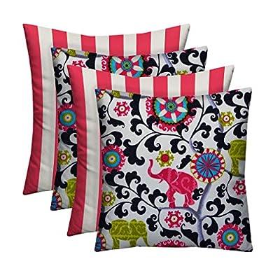 RSH Décor Designer Indoor/Outdoor - 4 Pack Coordinating Pillow Sets (17