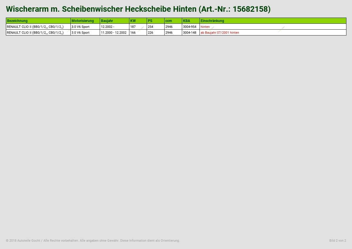 WISCHERARM M SCHEIBENWISCHER HECKSCHEIBE HINTEN VON AUTOTEILE GOCHT
