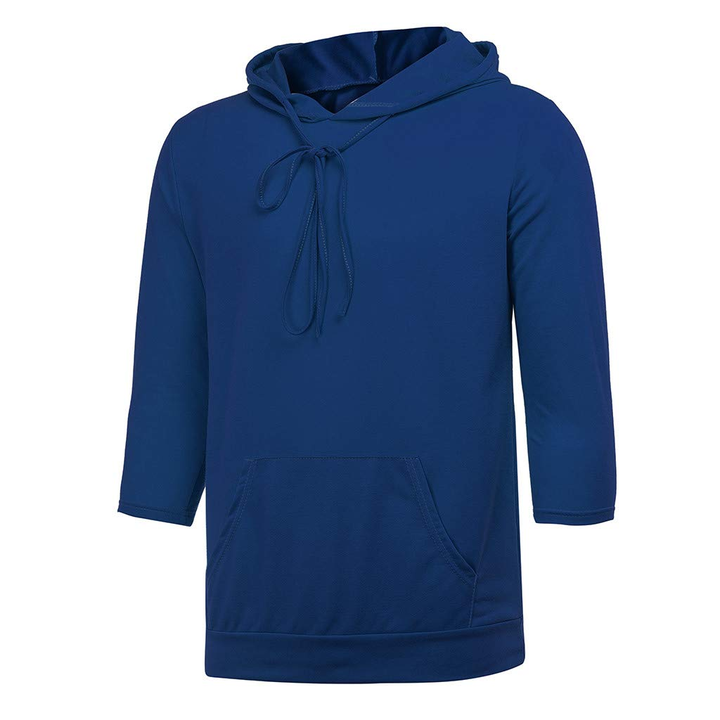 Tammy Pullover for Men Sport Button Seven Point Sleeves Hooded Fashion Casual Hoodies Tops Sweatshirt Medium XXXLarge