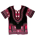 Vipada Handmade's Traditional Dashiki Shirt for men and women Black with Pink L
