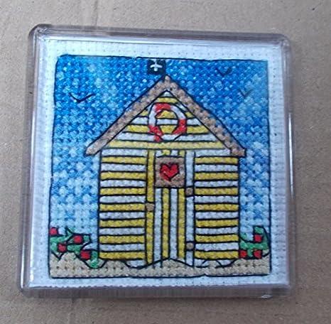 Diseño de caseta de playa imán para nevera juego de punto de cruz - punto de cruz imán para nevera, diseño de caseta de playa: Amazon.es: Hogar