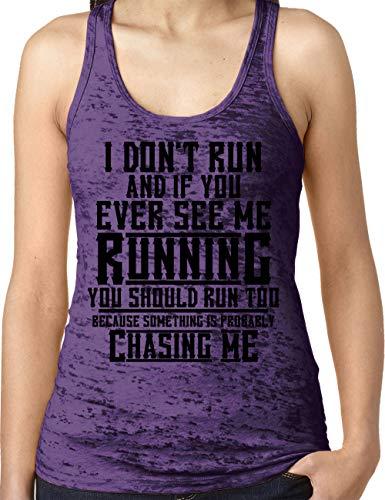 Amdesco Ladies If You Ever See Me Running You Should Run Burnout Racerback Tank Top, Purple Rush Medium