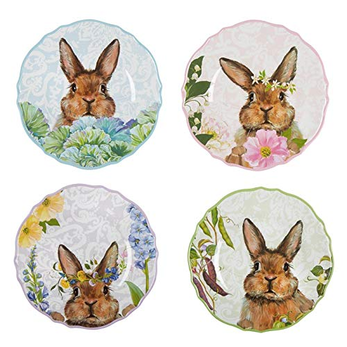 Rustico Peek-a-Boo Floral Easter Bunny Melamine Dinner Plates, Set of 4