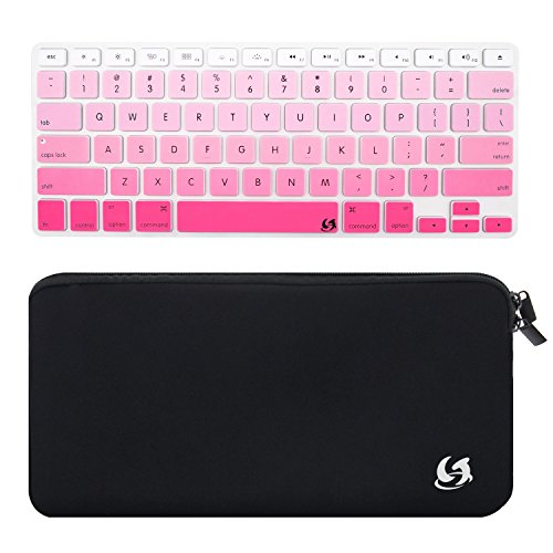 Litop® 2 in 1 Black Color High Quality Zippered Neoprene Keyboard Sleeve Case Sleeve Bag and Pink Gradient Thin Silicone Keyboard Cover Keyboard Skin for Apple Bluetooth Wireless Keyboard MC184LL/B (Case with Pink Gradient Cover) (Keys Powerbook Keyboard)