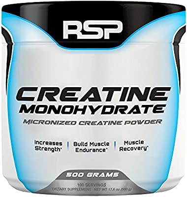 RSP Creatine Monohydrate – Pure Micronized Creatine Powder Supplement for Increased Strength, Muscle Recovery, and Performance for Men & Women, Unflavored, 500 grams