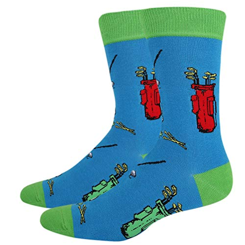 Funky Golf - Happypop Men's Novelty Funny Golf Sports Crew Socks, Funky Crazy Cool Golf Stand Bags Socks in Blue
