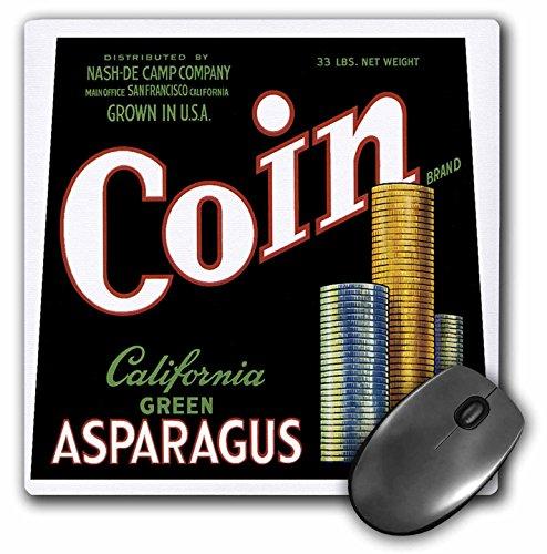 Asparagus Label - 3dRose BLN Vintage Fruit and Vegetable Crate Labels - Vintage Coin California Green Asparagus Crate Label - MousePad (mp_129863_1)