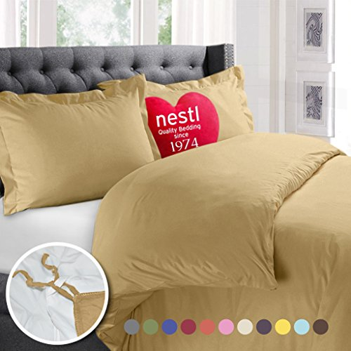 Nestl Bedding Duvet Cover, Protects and Covers your Comforter / Duvet Insert, Luxury 100% Super Soft Microfiber, Queen Size, Color Camel Gold, 3 Piece Duvet Cover Set Includes 2 Pillow (Duvet Sham)