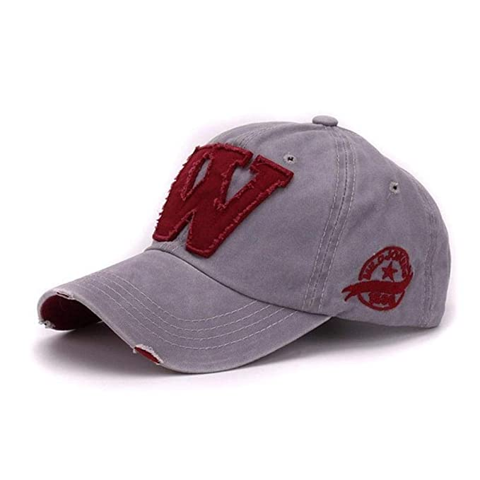 Cotton Letter W Baseball Cap Retro Outdoor Sports caps Women Bone Gorras Curved Fitted Washed Vintage