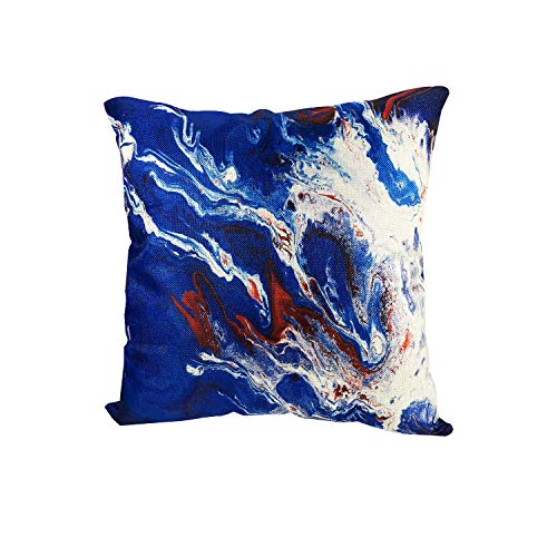 MuaToo Decorative Art Abstract Marble Texture Mixed Blue and Wine Red Throw Pillow Case Cushion Cover 16