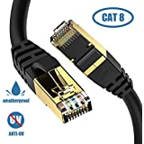Cat8 Ethernet Cable, Outdoor&Indoor, 6FT Heavy Duty High Speed 26AWG Cat8 LAN Network Cable 40Gbps, 2000Mhz with Gold Plated RJ45 Connector, Weatherproof S/FTP UV Resistant for Router/Gaming/Modem