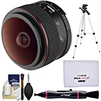 Opteka 6.5mm f/2 HD MF Prime Fisheye Lens with Tripod + Cleaning Kit for Olympus OM-D, PEN & Panasonic LUMIX Micro 4/3 Digital Cameras