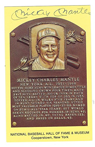 Autographed Mickey Mantle Hall Of Fame Gold Plaque