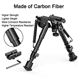 "XAegis Carbon Fiber 6""- 9"" Rifle Bipod with Adapter -Picatinny M-LOK Keymod, Carbon"