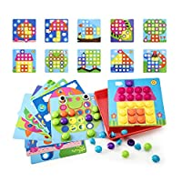 Geekper Button Art Toys for Toddlers, Color Matching Mosaic Pegboard, Early Learning Educational Toys ,Fine Motor Skills Development Set for Boys and Girls