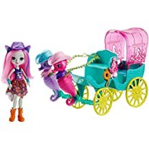Enchantimals Sandella Seahorse, Friends and Western-Styled Coach Doll and Playset