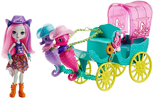 Enchantimals Sandella Seahorse, Friends and Western-Styled Coach Doll and - Ride World Sea