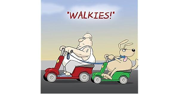 Twizler Funny tarjeta con grasa perro y movilidad Scooter ...