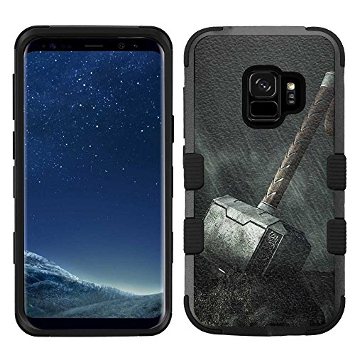 Samsung Galaxy S9 Case, Hard+Rubber Dual Layer Hybrid Heavy-Duty Rugged Armor Cover Case - Thor #Hammer (Cover Thor)