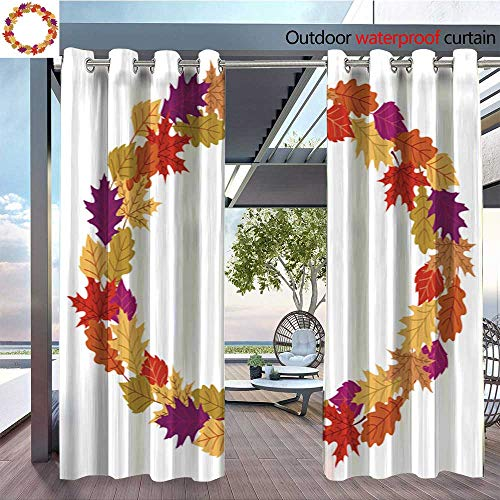 Outdoor- Free Standing Outdoor Privacy Curtain The-fall-wreath-with-oak--maple-and-other-autumn-leaves-on-white-background--Perfect-for-holiday-invitations--greeting-cards--Thanksgiving-banners-and- for sale  Delivered anywhere in USA