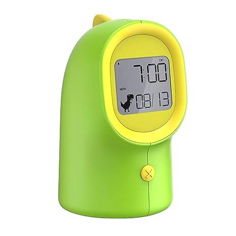 Mpow Reloj Despertador Digital para niños, Despertador Infantil de Dinosaurio, luz Nocturna con 3