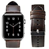 Electronics : For Apple Watch Band 42MM,Shielda Retro Genuine Leather Strap Replacement Band for Apple Watch Series 3 / 2 / 1 (Coffee)