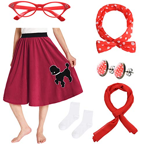 JustinCostume Women's 50's Outfit Poodle Skirt Costume Kit (M/L (US 8-12), Red)
