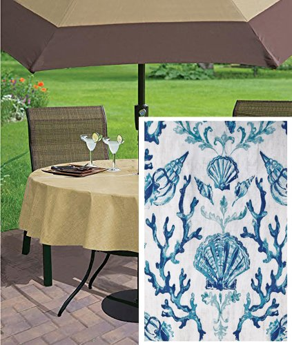 Blue Lyra Coral Reef Summer and Spring Indoor/Outdoor Soil Resistant and Water Repellent Fabric Tablecloth - Patio, Picnic, BBQ, Kitchen, 70 Inch Round Zippered Umbrella Hole Patio Tablecloth