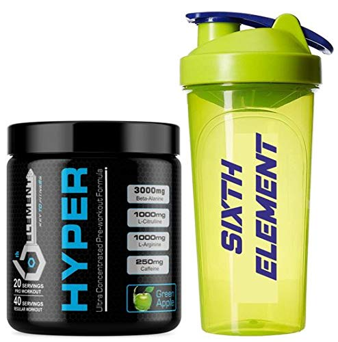 Amazon price history for 6th Element's HYPER Pre-workout - Green Apple - 40 servings with free iShake shaker worth INR 275