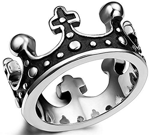 Stainless Steel Royal Crown Ring for Men Vintage King Ring Cross Crown Ring Size 7 (Ring Crown King)