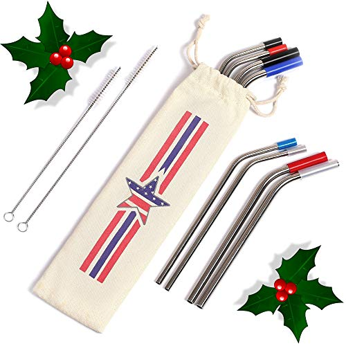 (Stainless Steel Straws Eco-Friendly Set of 8 Metal Reusable Bent Straw 8,5 10,5 Inch 30oz 20oz Tumblers Cups Mugs Drinking Hot Cold Beverage Travel Carry Case 2 Cleaning Brushes Bonus 8 Silicone Tips)