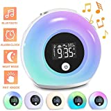 Sendowtek Wake Up Light Alarm Clock with Wireless Bluetooth Speaker, Kid's Alarm Clock with 3 Natural Voices, 5 Colorful Lights and Vibration Sensor for Party, Bedroom