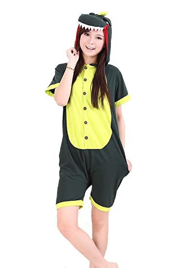 3b77202250 Amazon.com   Cute Animal Onesie Pajamas Adult Cotton Coveralls Green  Dinosaur Cosplay Costumes Summer Short Sleeve (S(For Height 145-158cm))    Beauty ...
