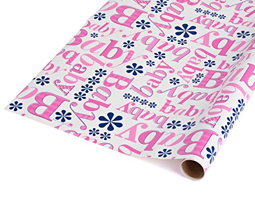 American Greetings Baby Shower Wrapping Paper, Pink, 2.5' x