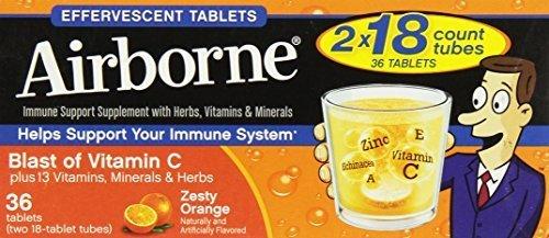 Airborne Effervescent Health Immune Boosting Formula Zesty Orange 36 Tablets (Bonus Size) by ()