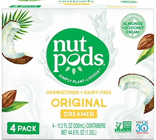 nutpods Original 4-Pack, Unsweetened Dairy-Free Creamer, Whole30, Paleo, Keto, Non-GMO and Vegan, for Coffee, Tea and Cooking, Made from Almond and Coconut