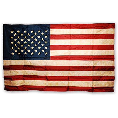 Morigins 3x5 FT Primitive American Flag Tea Stained Double Sided Patriotic Flag