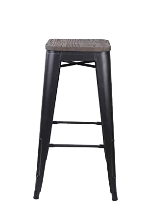 GIA 30-Inch Low Back Stool with Wooden Seat, Black Dark Wood, 2-Pack