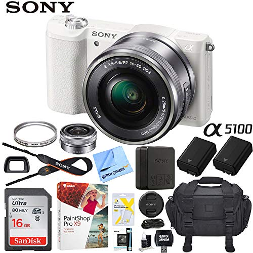 Sony a5100 Alpha Mirrorless Digital Camera 24MP DSLR (White) w/16-50mm Lens ILCE-5100L/W with Extra Battery Case 16GB Memory Deluxe Pro Bundle For Sale