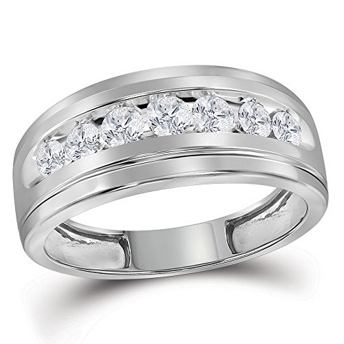 Jewels By Lux 10kt White Gold Mens Round Channel-Set Diamond Single Row Wedding Band Ring 3/4 Cttw Ring Size 12 ()