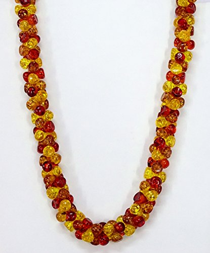 - 22 Inch Amber Necklace, Baltic Amber/Honey Amber Necklace Designer Rare Heart Smooth Beads Cognac Beach Prom Multicolor For Gift Sale.