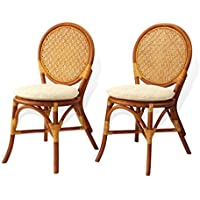Set of 2 Denver Dining Armless Side Chairs Natural Rattan Wicker ECO Handmade Design, Cognac