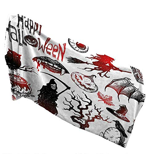 (QIN-Home Made of 100% Premium Cotton 10 x 40 INCH,Halloween Decorations Halloween Objects Scary Retro Evil Dead Skeleton Witch and Magic Book Picture Black Red. No Fading)