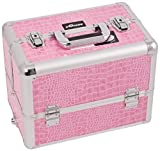 Craft Accents 6-Tiers Extendable Tray Professional Aluminum Cosmetic Makeup Case, Pink Crocodile, 176 Ounce
