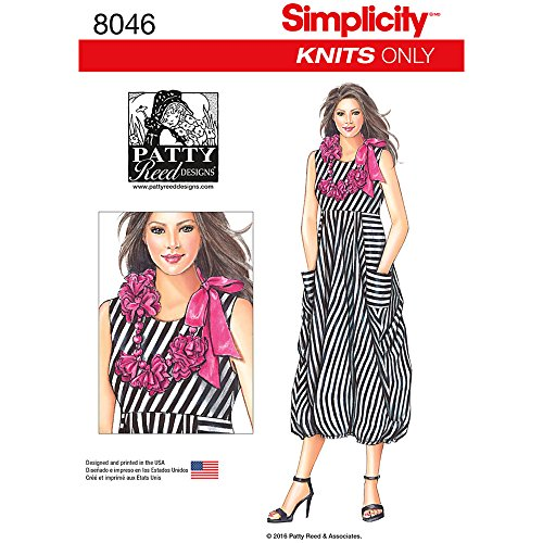 Simplicity Creative Patterns US8046A Misses' Knit Dress with Flower Necklace Size: A (XS-S-M-L-XL)
