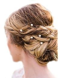 Missgrace 10 pcs Bridal Crystal Hair Pins Flower Crystal Wedding Hair Clips Women Hair Accessories